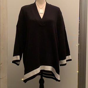 Tommy Hilfiger Black V-Neck Varsity Stripe Sweater